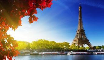 Бесплатные фото эйфелева, башня, париж, франция, небо, облака, деревья