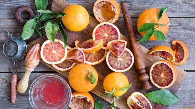 Фото бесплатно фрукты, апельсин, листья