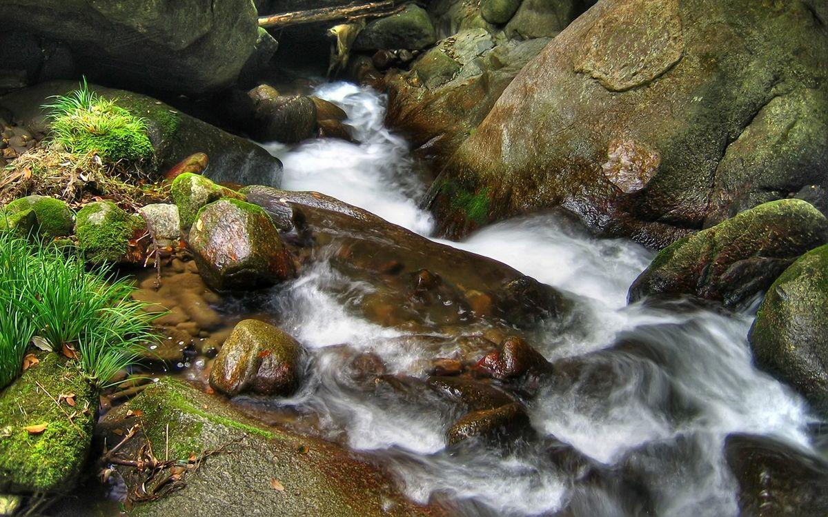 Фото бесплатно горный, ручей, камни - на рабочий стол