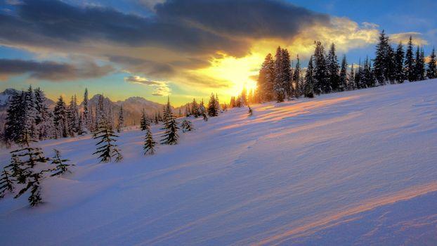 Заставки снег, склон, закат