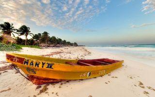 Заставки лодка,надписи,берег,песок,пляж,пальмы,море