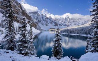 Фото бесплатно моренные озёра в альберте, канада, зима