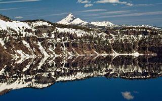 Бесплатные фото озеро,отражение,горы,снег,небо,облака