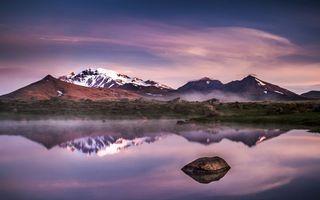 Заставки озеро,горы,холмы,снег,вечер,пейзажи