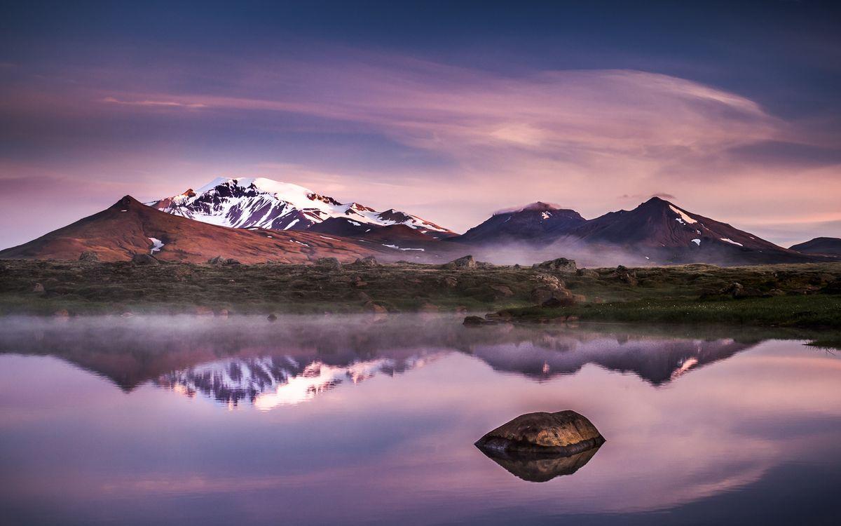Фото бесплатно озеро, горы, холмы, снег, вечер, пейзажи, пейзажи