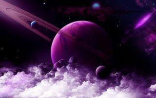 Фото бесплатно планета, кольца, другой юпитер, спутники, звезды, галактика, рендеринг, космос