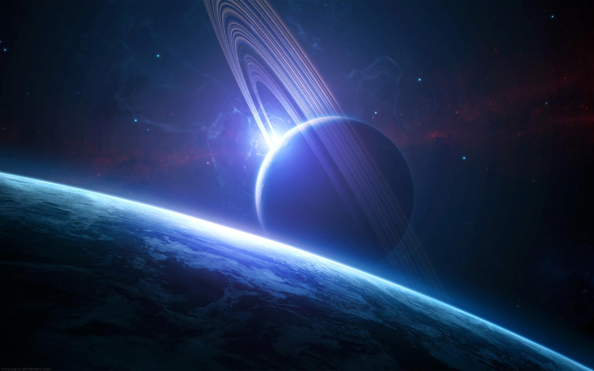 Обои планета, кольца, спутник, поверхность