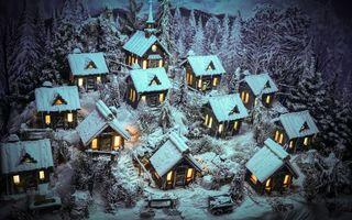 Фото бесплатно снег, зима, лес, деревня, мороз, сугробы, дома, свет, окна, пейзажи