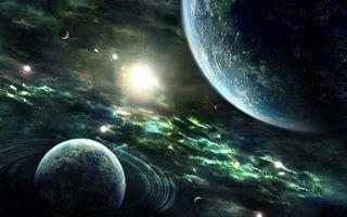 Фото бесплатно взрыв сверхновой во вселенной, планета, планета с кольцами, спутники, туманность, космос