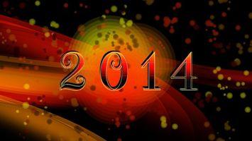 Обои 2014, надпись, цыфры, блики, размытость, фон, новый год