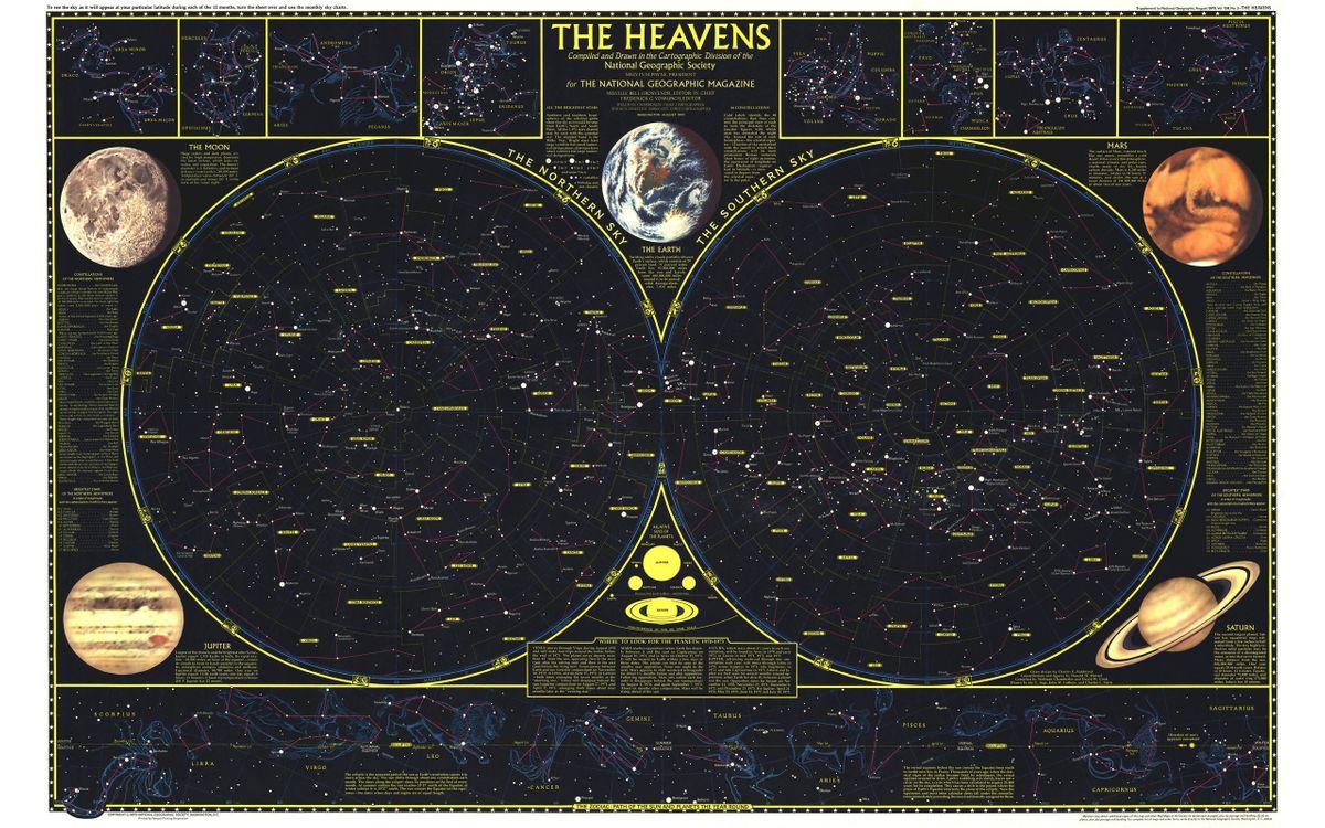 Фото бесплатно карта, созвездия, неба, звездного, разное