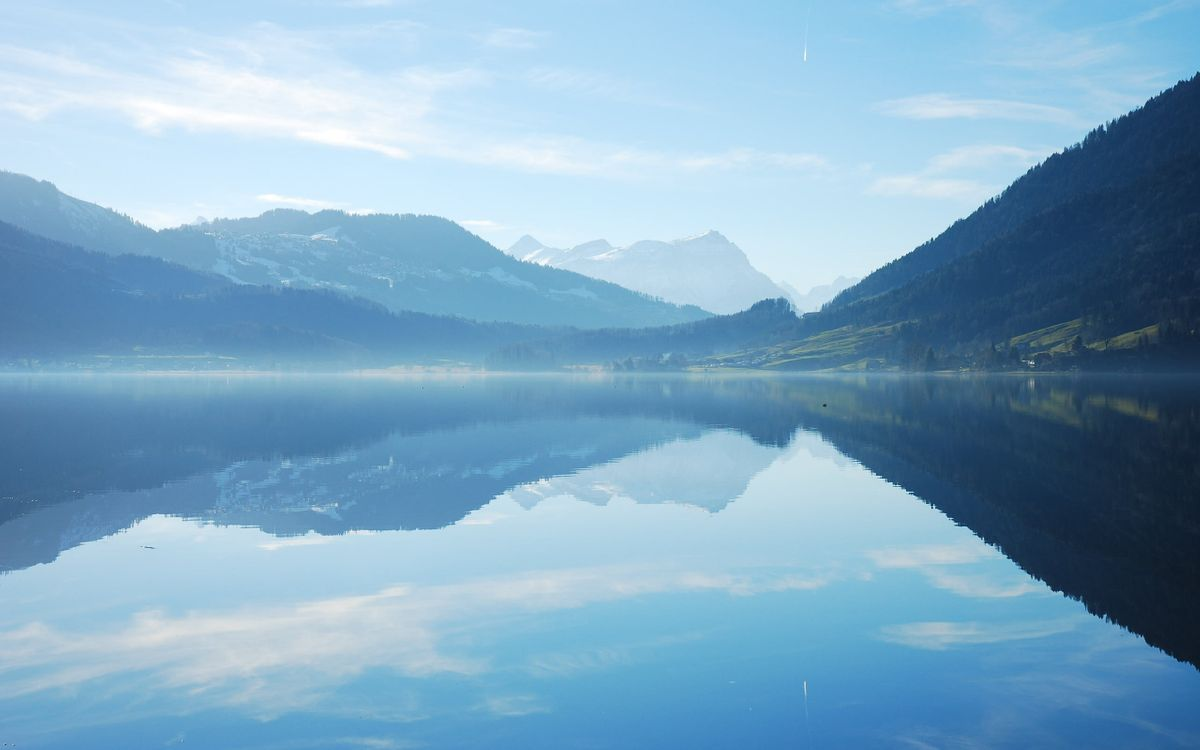 Обои озеро, горы, холмы, небо, лето, день, пейзажи на телефон | картинки пейзажи