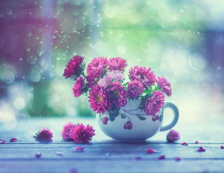 Photo free cup, bouquet, flowers