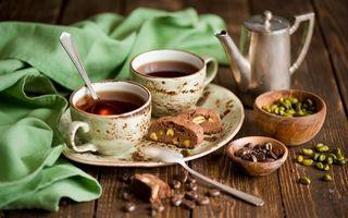 Обои чай, чашка, печенье, зерна, стол, десерт, сладость, еда