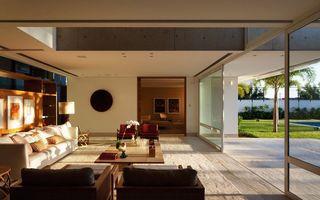 Обои диван, кресла, стол, цветок, стена, стекло, интерьер