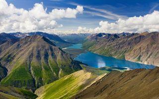 Бесплатные фото горы,зелень,река,вода,небо,облака,природа