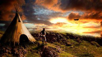 Фото бесплатно индиец, вигвам, орел, перья, небо, облака, горы, аниме