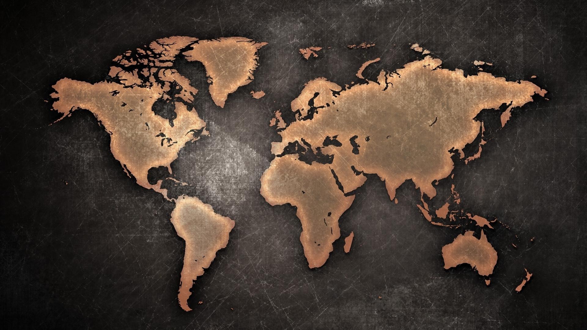 карта, мир, материки