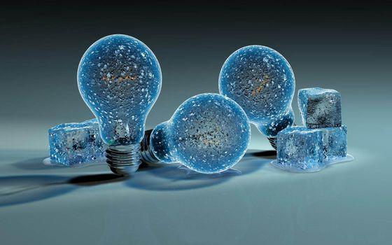 лампочка, лед, фон, заставка, синий