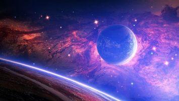 Бесплатные фото планета,спутник,облака,туманность,рождение,звезд,космос