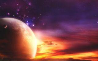 Фото бесплатно планета, спутник, небо