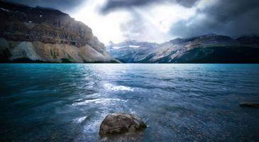 Фото бесплатно река, горы, камень