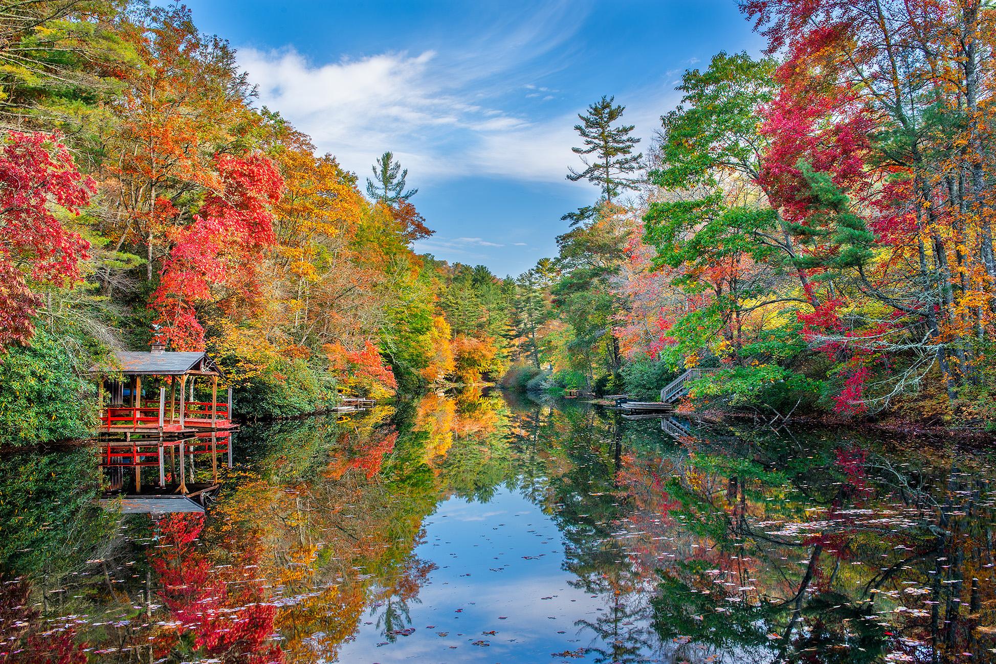 Северная Каролина, осень, озеро