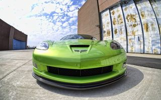 Обои шевроле, корвет, зеленый, фары, бампер, воздухозаборник, машины