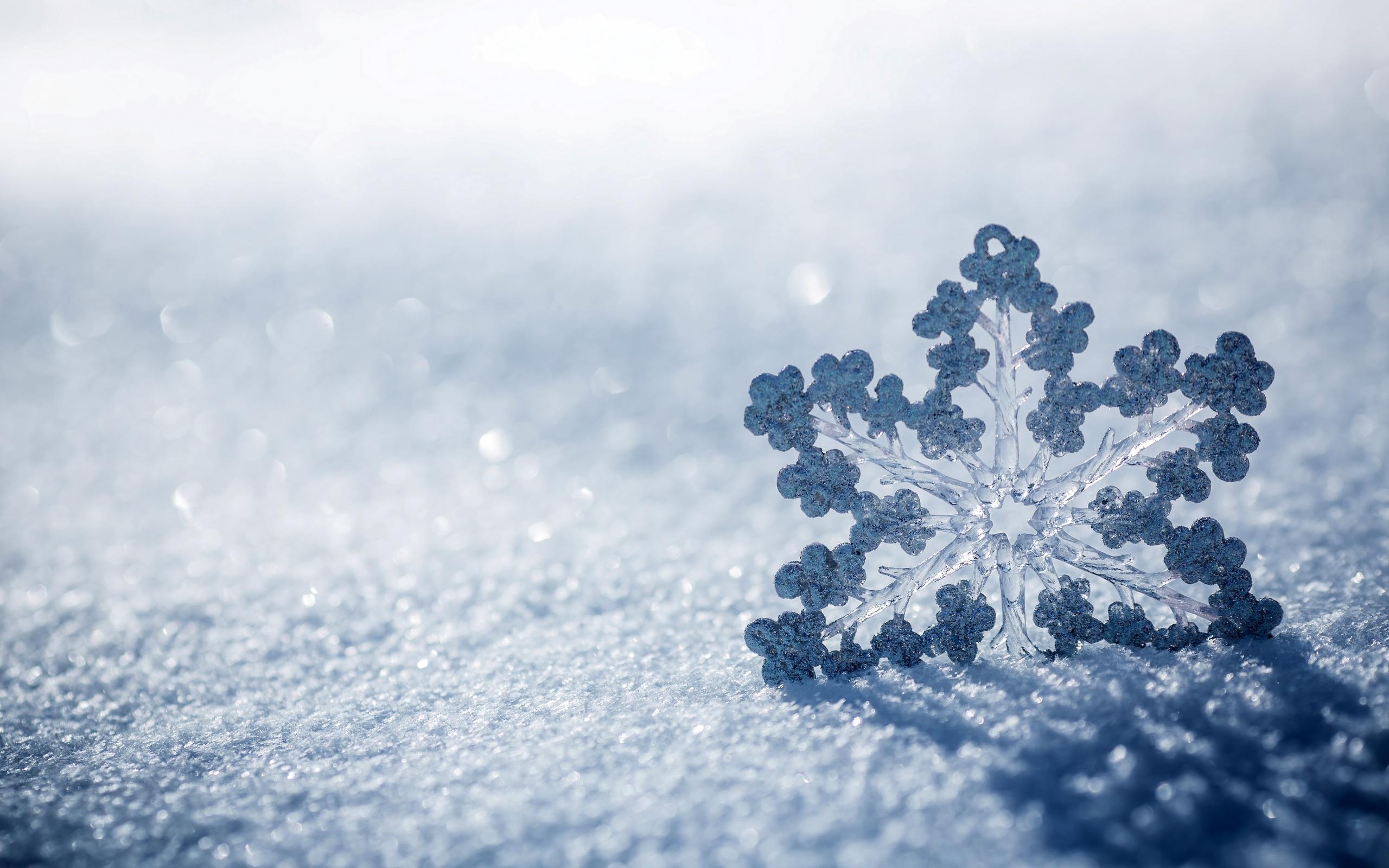 Обои снежинка, большая, снег, тень