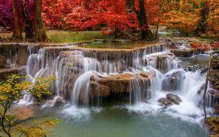 Бесплатные фото водопад,пороги,деревья,очень,листопад