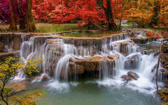 Фото бесплатно водопад, пороги, деревья