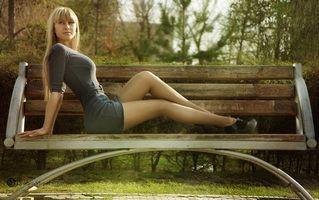 Заставки women, bench, park, model, dress, девушки