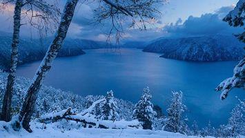 Бесплатные фото зима, лед, река, деревья, небо, горы, облака