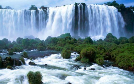 Фото бесплатно водопад, обрыв, лес