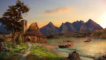 Бесплатные фото дом,горы,трава,река,лодки,вода,небо