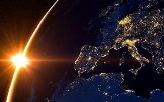 Бесплатные фото фото,орбита,солнце,земля,города,огни,космос