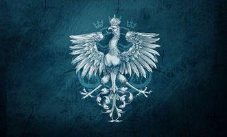 Заставки герб, фон, рисунок, корона, голова, язык, крылья, хвост, перья, узор, синий, темный