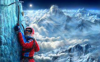 Фото бесплатно горы, вершины, облака, лед, скалолазы, экипировка, ледорубы, разное