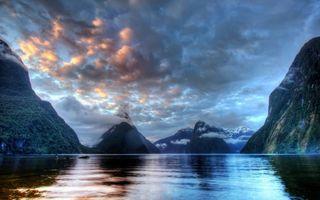 Фото бесплатно горы, река, перистые
