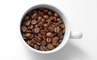 Обои кофе, зерна, чашка, кружка, фон, белый, стол, фото, разное