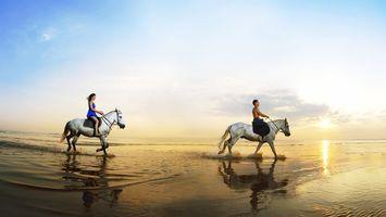 Бесплатные фото кони,всадники,берег,море,небо,солнце,разное