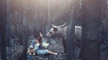 Обои лес, девушка, читала, книга, игрушка, встреча, медведь, ситуации