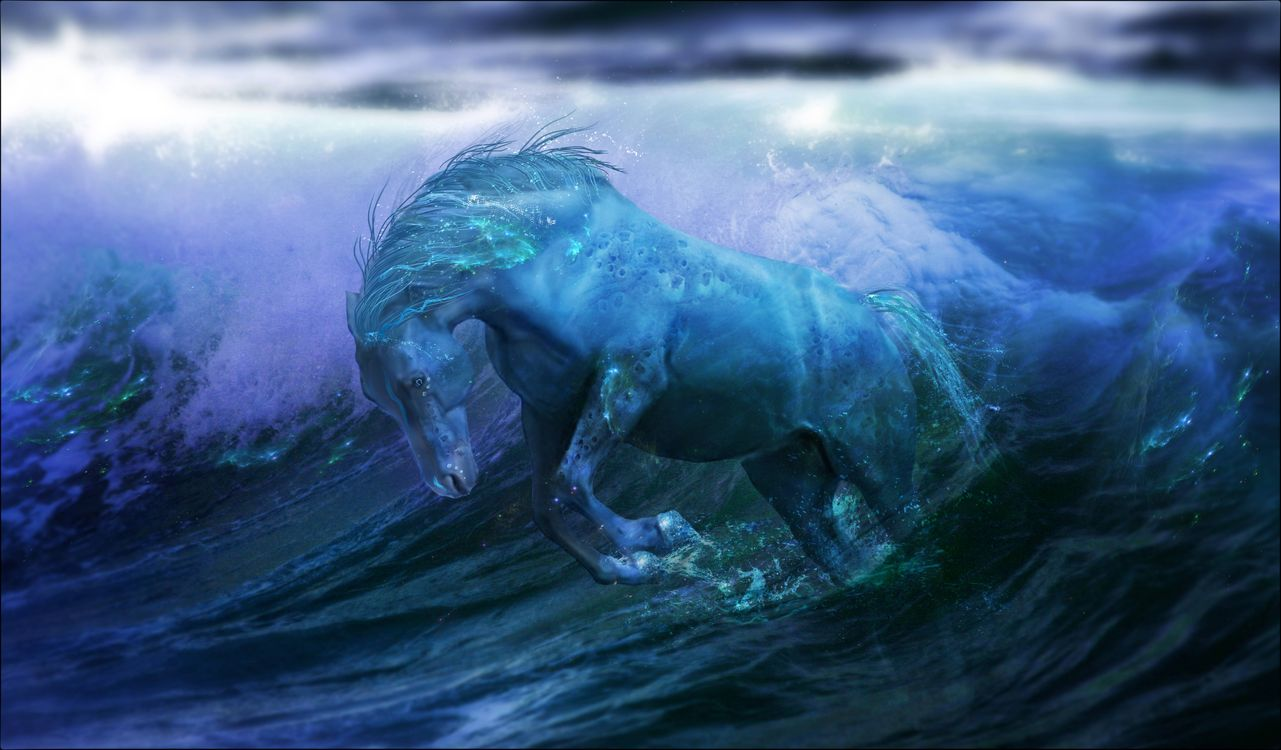 Фото бесплатно море, волны, лошадь, рендеринг