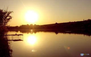 Photo free lake, circles, sun