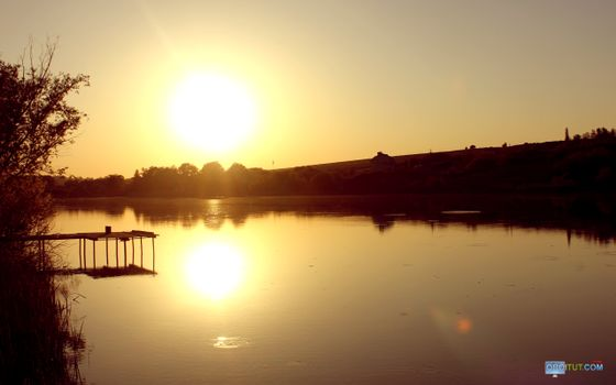 Фото бесплатно озеро, круги, солнце