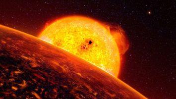 Фото бесплатно планета, звезды, огонь