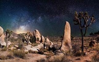 Фото бесплатно звезды, холмы, небо