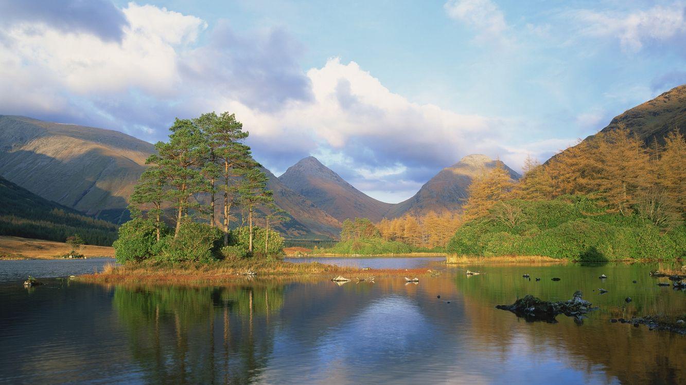 Фото бесплатно река, вода, деревья, горы, небо, облака, природа, природа - скачать на рабочий стол