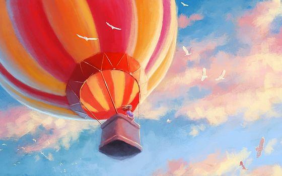 Бесплатные фото рисунок,воздушный,шар,корзина,девушка,птицы,небо,облака,разное