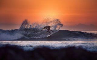 Бесплатные фото серфинг,доска,море,волна,брызги,закат,разное